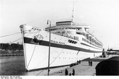 When the land evacuation routes were already intercepted by the Red Army, tens of thousands remaining German military personnel and civilians were evacuated by ship in Operation Hannibal. Depicted military transport ship Wilhelm Gustloff was sunk by a Soviet submarine, 9,000 drowned.