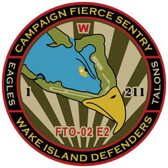 The insignia for Campaign Fierce Sentry (FTO-02 E2), a Missile Defense Agency Integrated Flight Test in 2015, depicts a map of Wake Island within the head of an eagle