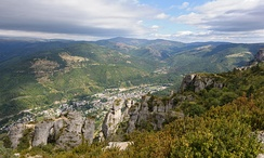 Typical view of the mountainous Cévennes area in the thinly-populated interior of Languedoc: plateaus (the Causses) with deep river canyons