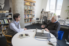 Chomsky and Jorge Majfud at the Massachusetts Institute of Technology in April 2016