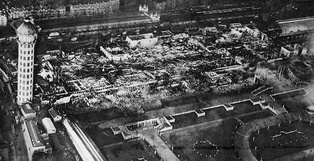 The Crystal Palace a few days after the night of 30 November 1936; totally destroyed