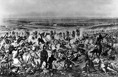 """Custer's Last Stand."" Lieutenant Colonel Custer standing center, wearing buckskin, with few of his soldiers of the 7th Cavalry still standing."