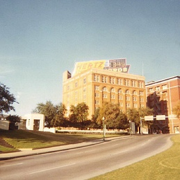 Dealey Plaza and Texas School Book Depository in 1969, six years after the assassination