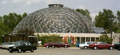 Exterior of the Greater Des Moines Botanical Garden building and dome