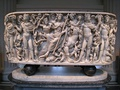 Roman marble sarcophagus with the Triumph of Dionysos and the Seasons (circa 260–270 AD)