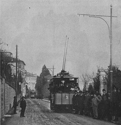 Maschinenfabrik Oerlikon's first commercially AC-driven locomotive, the tramway in Lugano, Switzerland, 1896