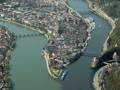 Confluence of (from left to right) Inn, Danube, and Ilz in Passau