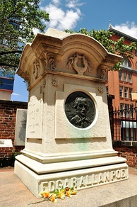 Edgar Allan Poe is buried at Westminster Hall in Baltimore, Maryland (Lat: 39.29027; Long: −76.62333). The circumstances and cause of his death remain uncertain.