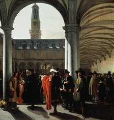 Courtyard of the Amsterdam Stock Exchange (Beurs van Hendrick de Keyser in Dutch) by Emanuel de Witte, 1653. With the founding of the Dutch East India Company (VOC) and the rise of Dutch capital markets in the early 1600s, the 'old' bourse became a formal exchange that specialize in creating and sustaining secondary markets in the securities (such as bonds and shares of stock) issued by corporations.[3][4][5]
