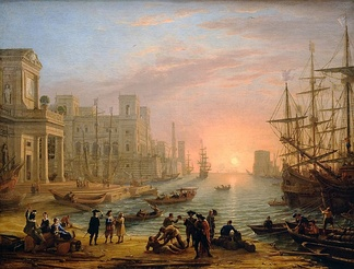 Seaport at sunrise, a French seaport painted by Claude Lorrain in 1639, at the height of mercantilism