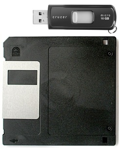 Size comparison of a flash drive and a 3.5-inch floppy disk. The flash drive can hold about 11,380 times more data.