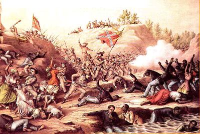 """Fort Pillow Massacre"" – An 1885 color print by Kurz and Allison designed to keep the memory of the event alive.  One of a series of prints of Civil War battles.  The illustration depicts women and children among the slain.  This was disputed by witnesses who said that women and children had been removed from the fort prior to the battle.[16]"