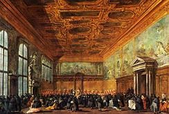 The hearing given by the Doge in the Sala del Collegio in Doge's Palace by Francesco Guardi, 1775–80
