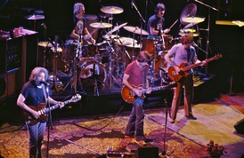 The Grateful Dead in 1980. Left to right: Jerry Garcia, Bill Kreutzmann, Bob Weir, Mickey Hart, Phil Lesh.