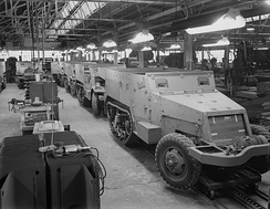 Production of half-track armored cars in a converted automobile plant. Diebold Safe and Lock Company, Canton, Ohio.