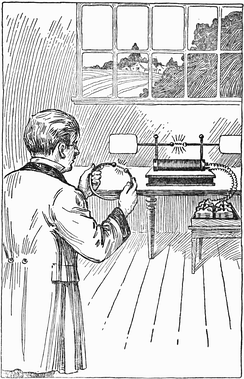 Hertz discovering radio waves in 1887 with his first primitive radio transmitter (background).