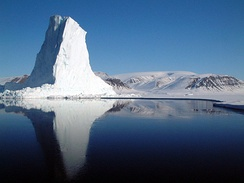 An iceberg at the edge of the Baffin Bay's sea ice.