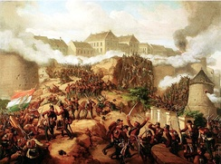 The Battle of Buda in May 1849 by Mór Than