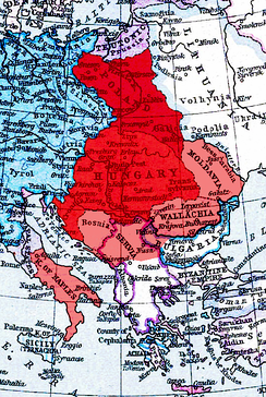 Louis's realm (red) with dependent and claimed territories, including Tvrtko's Bosnia (pink)