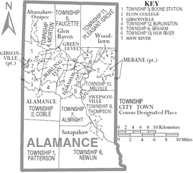 Map of Alamance County with municipal and township labels