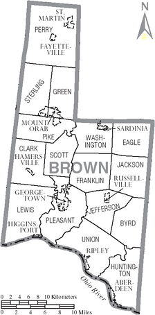 Map of Brown County, Ohio With Municipal and Township Labels