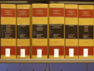 Martindale-Hubbell Law Directory volumes on the shelf at a law library