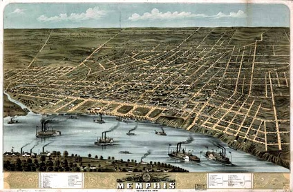 Historic aerial view of Memphis (1870)