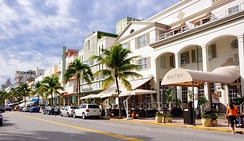Many Art Deco style hotels are located on Ocean Drive
