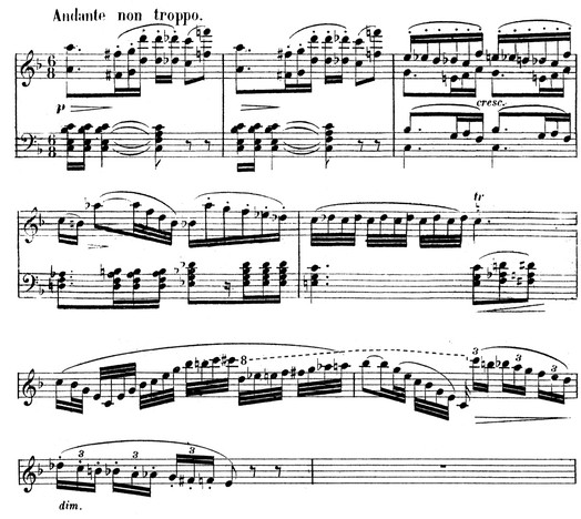 Ophélie's Theme from act 1 (first 4 bars). The example ends with a 3-bar flute cadenza which foreshadows her florid music later in the opera. (Piano-vocal score, pp. 26–27)