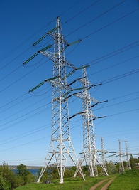 Overhead power lines 330 and 150 kV in Dnipro