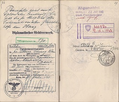 Diplomat being evacuated from occupied Holland. German special visa issued for the travel on a diplomatic train for the evacuation in July 1940.