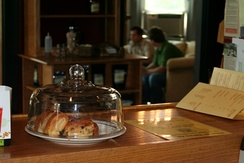 Coffeehouses often sell pastries or other food items