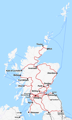 Rail and sea connections from Belfast with Abellio ScotRail in red.