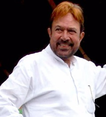 "Rajesh Khanna in 2010. He was the first Indian actor to be referred to as a ""superstar"", starring in 15 consecutive solo hit films from 1969 to 1971."