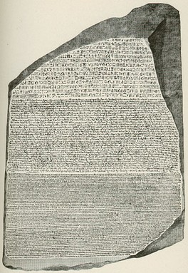 The early 19th-century editions of Encyclopædia Britannica included influential, original research such as Thomas Young's article on Egypt, which included the translation of the hieroglyphs on the Rosetta Stone (pictured).