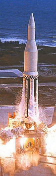 A Saturn I launches with a ballasted S-V stage