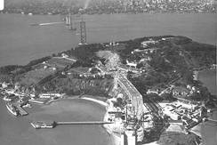 The Bay Bridge, under construction in 1935, took forty months to complete.