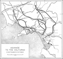 Allied advance to the Volturno river.