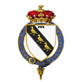 Garter-encircled shield of arms of George Curzon, 1st Marquess Curzon of Kedleston, KG, as displayed on his Order of the Garter stall plate in St. George's Chapel.