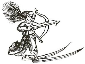 An early depiction of a skier—a Sami woman or goddess hunting on skis by Olaus Magnus  (1553).