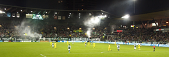 The Timbers Army celebrates with smoke bombs after a Portland goal