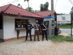 Thai Traffic Police officers, police booth , Huaikhot, Uthai Thani Province