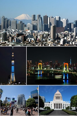 Clockwise from top: Nishi-Shinjuku business district, Rainbow Bridge, National Diet Building, Shibuya, Tokyo Skytree