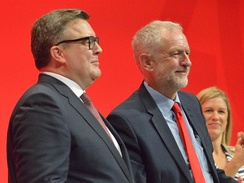 Corbyn with deputy leader Tom Watson at the 2016 Labour Party Conference following re-election