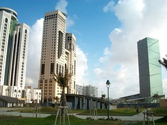Tripoli's central business district, where many Libyan and international companies have offices.