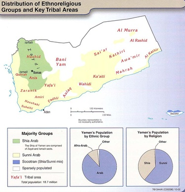 Yemen's tribal areas and Shia/Sunni regions. Shia Muslims predominant in the green area of Yemen's West, with the rest of Yemen being Sunni Muslims
