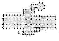 The cruciform plan of York Minster; drawing by Georg Dehio.