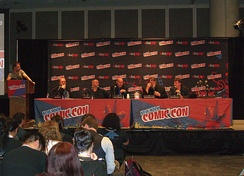 Morrison, fourth from left, at the Legendary Comics panel at the 2012 New York Comic Con. Sharing the stage with him from left to right: Bob Schreck, Matt Wagner, Guillermo del Toro and Travis Beacham.