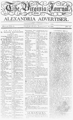 Virginia Journal and Alexandria Advertiser, 1784