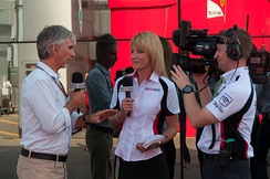 Hill (left) working as a presenter for Sky Sports F1